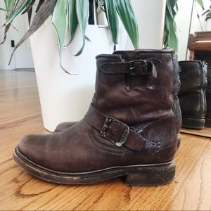 frye valerie leather shearling boots